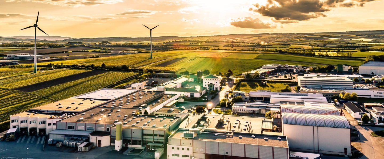 Budynek firmy Kotányi w Wolkersdorfie sfotografowany z lotu ptaka