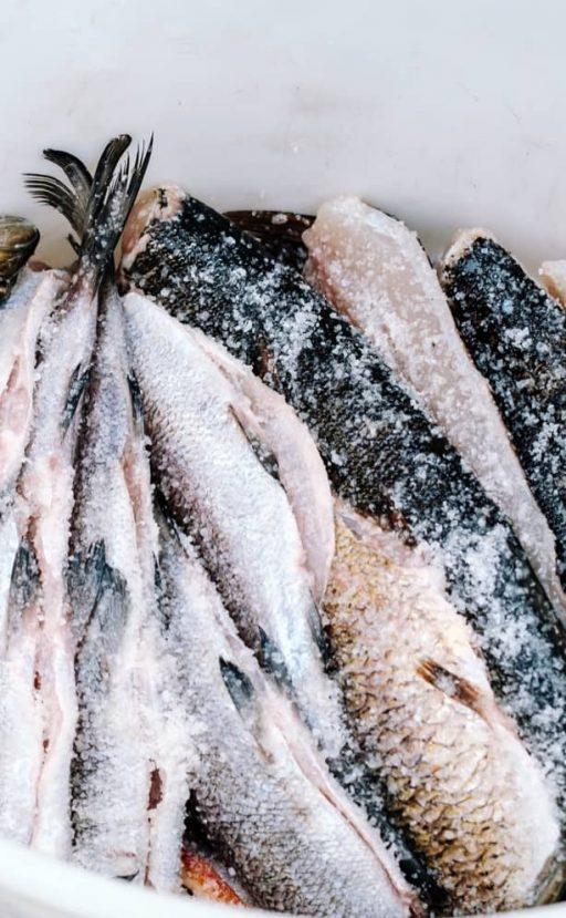 Fisch in Salz mariniert