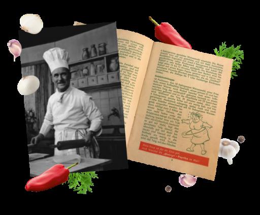 Telewizyjny szef kuchni Franz Ruhm i zdjęcie jego książki kucharskiej Kotányi.
