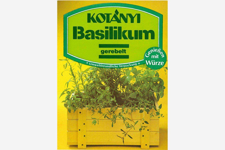 Przyjazna dla środowiska torebka bazylii Kotányi z lat 80.