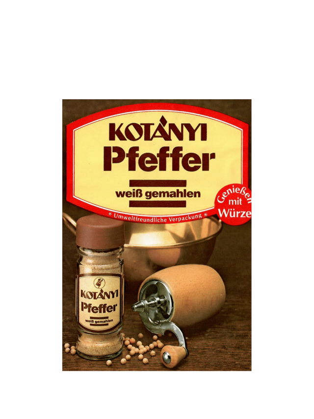 Torebka z białym pieprzem Kotányi z lat 80.