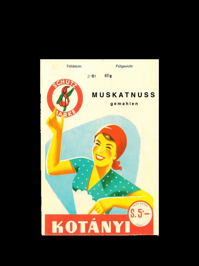 Torebka z gałką muszkatołową Kotányi z lat 50.